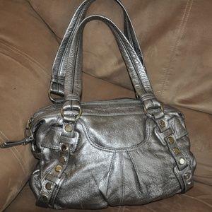 b Makowsky Pewter Silver Handbag for sale